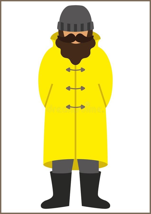 渔夫/sailorman平的象-有髭的一个人胡子佩带在军用防水短大衣雨衣靴子和编织帽子 免版税库存照片