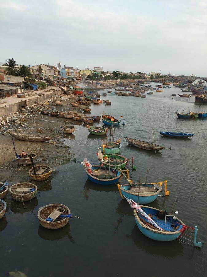 渔村在藩切,越南 库存照片