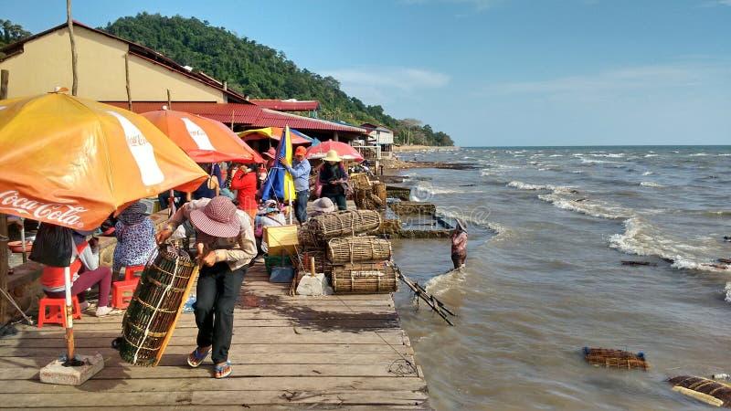 渔码头在鱼市上 免版税库存图片