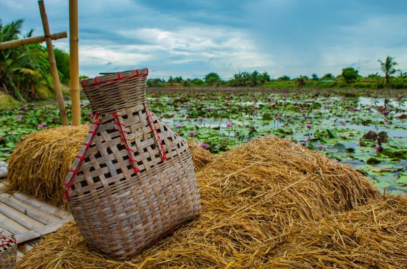 渔纱架,竹篮子在米秸杆阳台上把鱼放 免版税库存图片