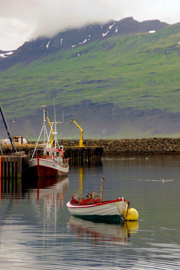 渔船五颜六色的透视在Djúpivogur和Berufjörður峡湾口岸的有山的在背景中 免版税库存照片