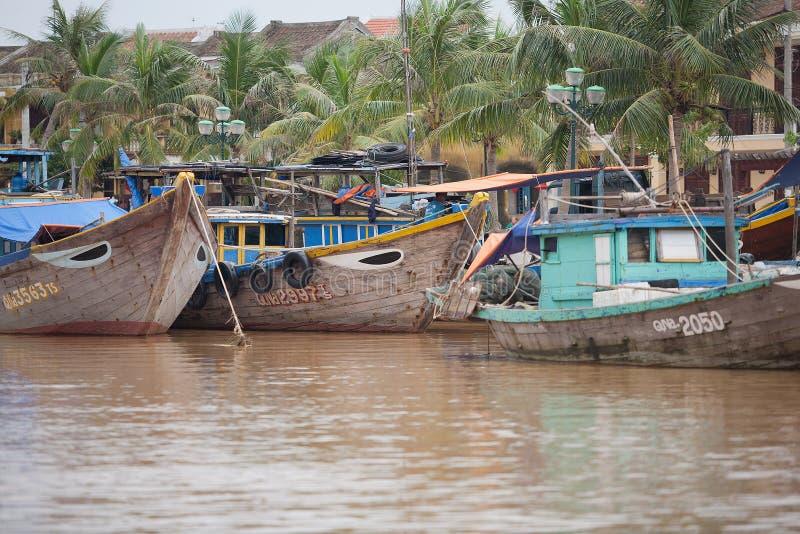 渔船会安市,越南 库存图片