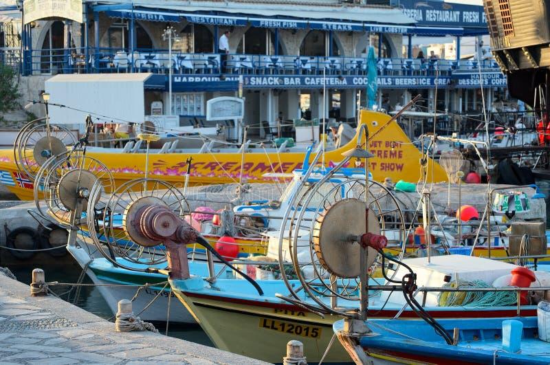 渔船和游艇, Ayia Napa,塞浦路斯 免版税库存图片