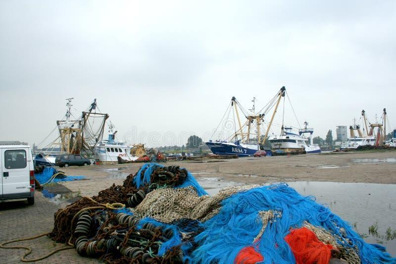 渔船和网和装配 免版税库存图片