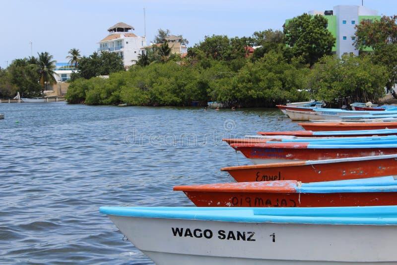 渔船在巴尼,多米尼加共和国 库存照片