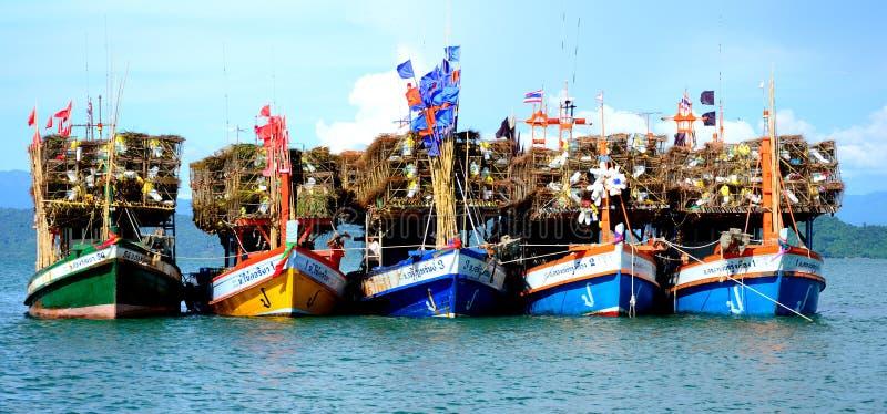 渔船在海, Ranong,泰国 免版税库存图片