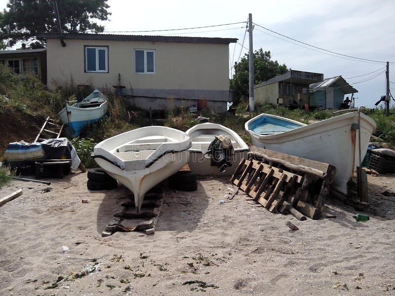 渔船在Krapets,保加利亚 免版税图库摄影