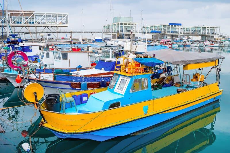 渔船,利马索尔小游艇船坞,塞浦路斯 免版税库存照片