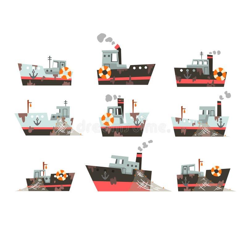 渔船,工业海鲜生产的,减速火箭的海洋火轮传染媒介例证拖网渔船的汇集 皇族释放例证