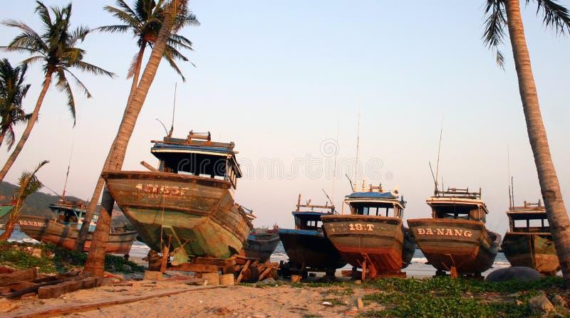 渔船, Danang -越南 免版税库存照片