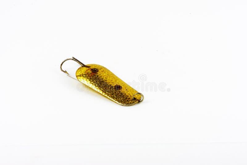 渔金属用作鱼饵的微曲金属片的盗版的陈列 库存照片