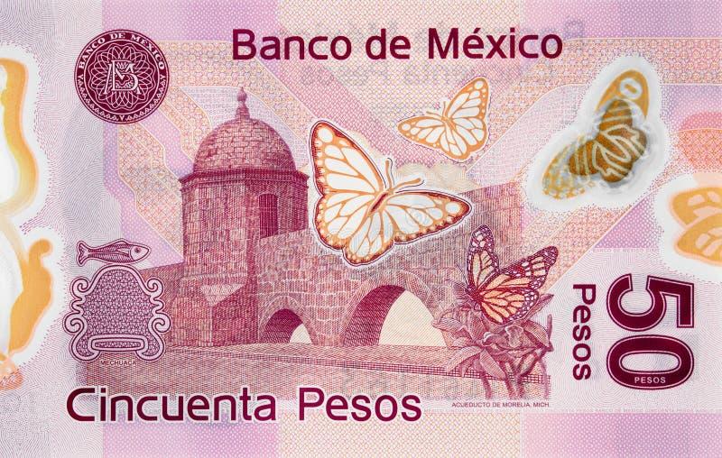 渡槽在墨瑞利亚,墨西哥50比索2015年banknot的米却肯州 库存照片