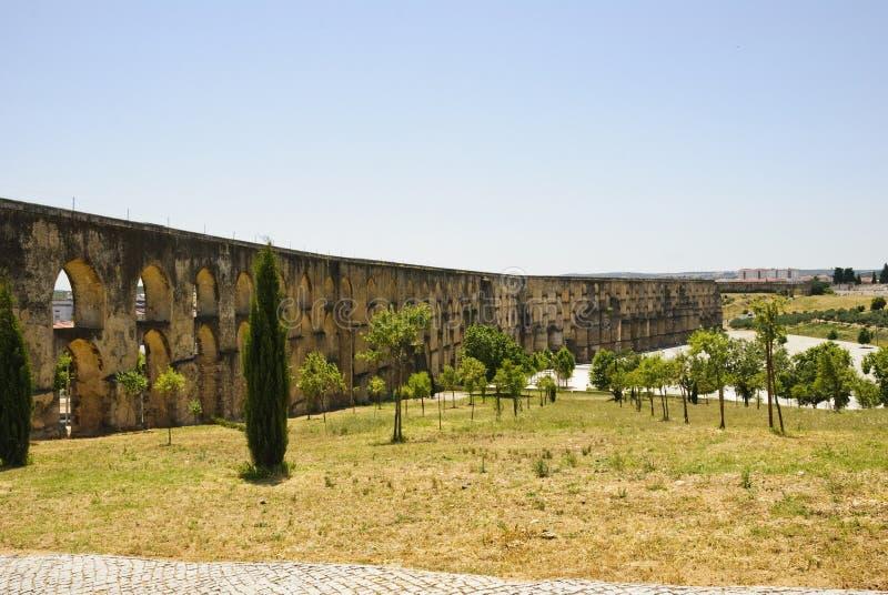 渡槽在Elvas,葡萄牙 库存照片