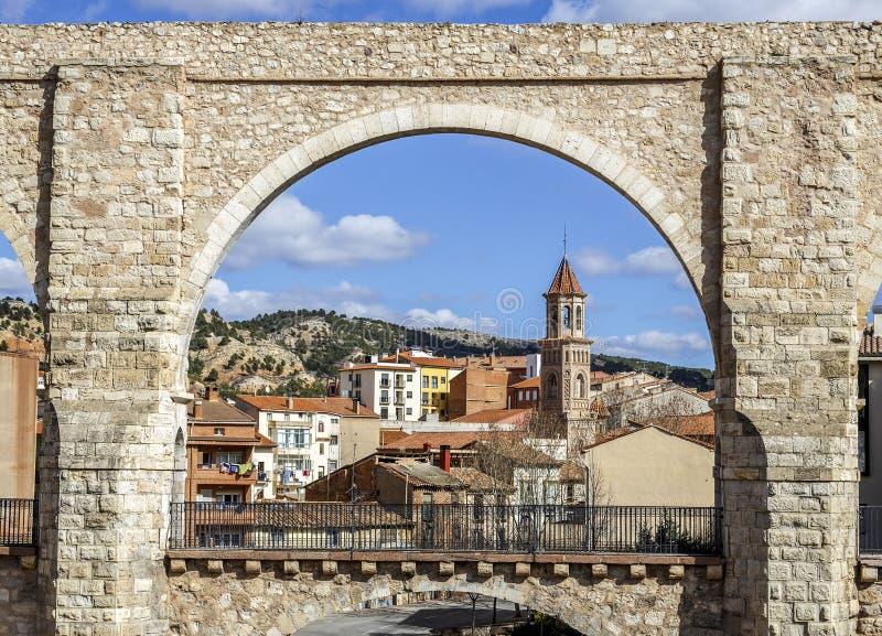 渡槽曲拱,特鲁埃尔省西班牙 库存图片