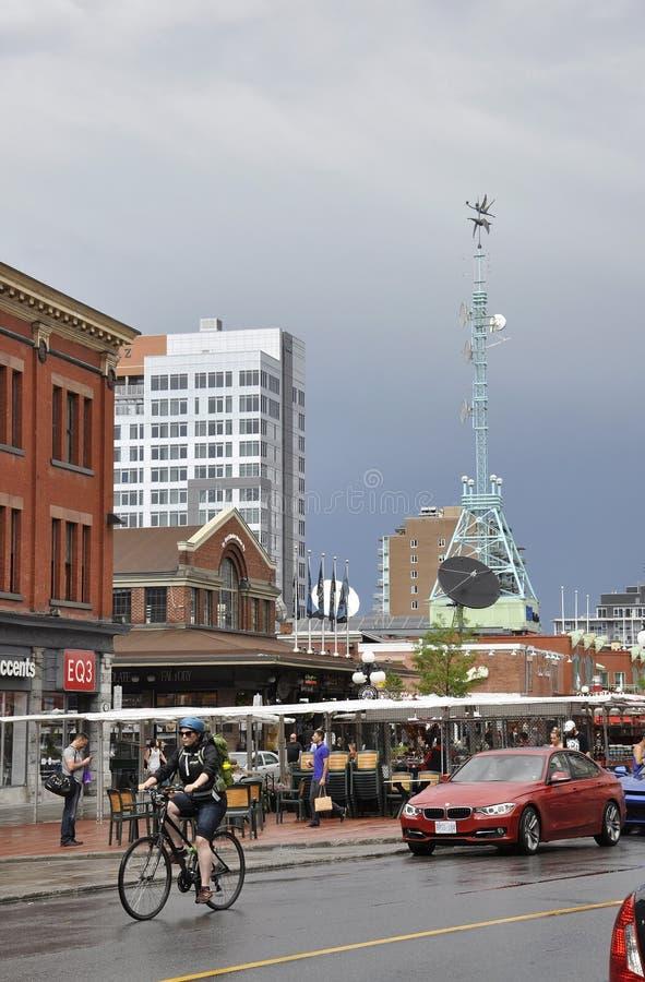 渥太华, 6月26日:ByWard从渥太华街市的集市广场在加拿大 免版税库存图片
