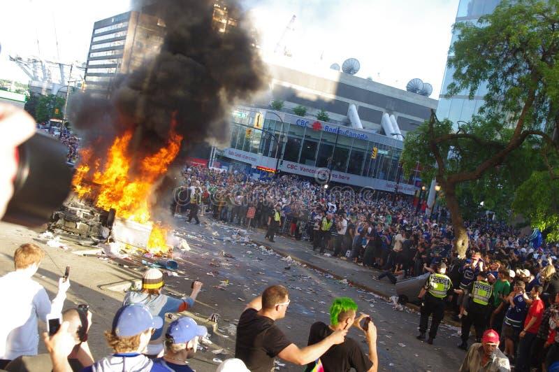 2011年温哥华史丹利杯暴乱 库存图片