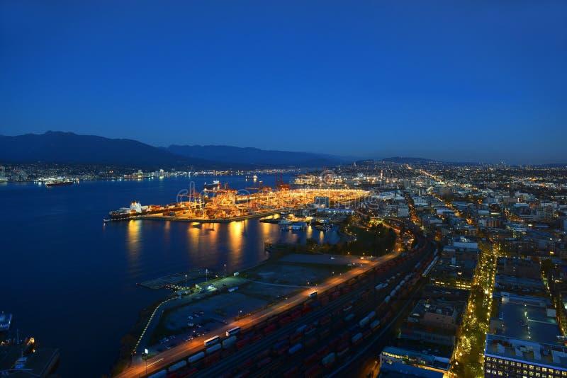 温哥华夜视图口岸, BC,加拿大 免版税库存图片