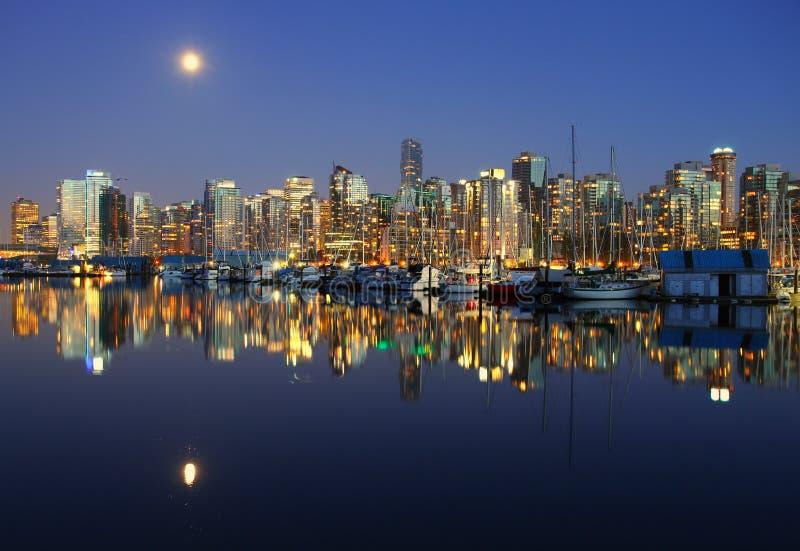 温哥华晚上,加拿大 库存照片