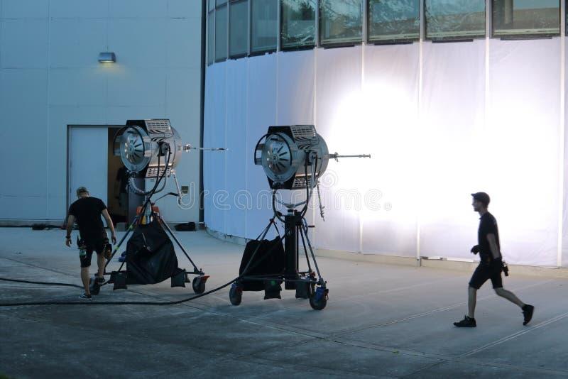 温哥华电影工作人员安装 图库摄影