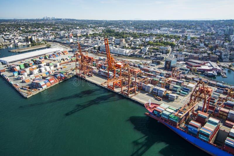 温哥华的空中图象, BC 免版税库存图片