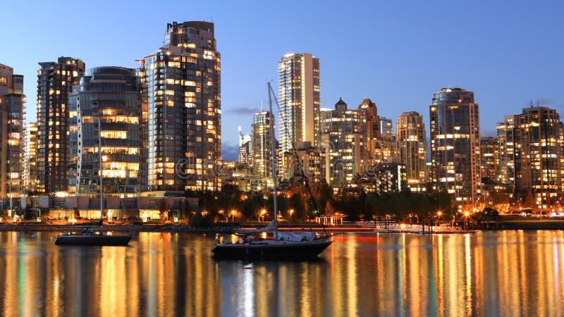 温哥华,加拿大日落视图市中心 图库摄影