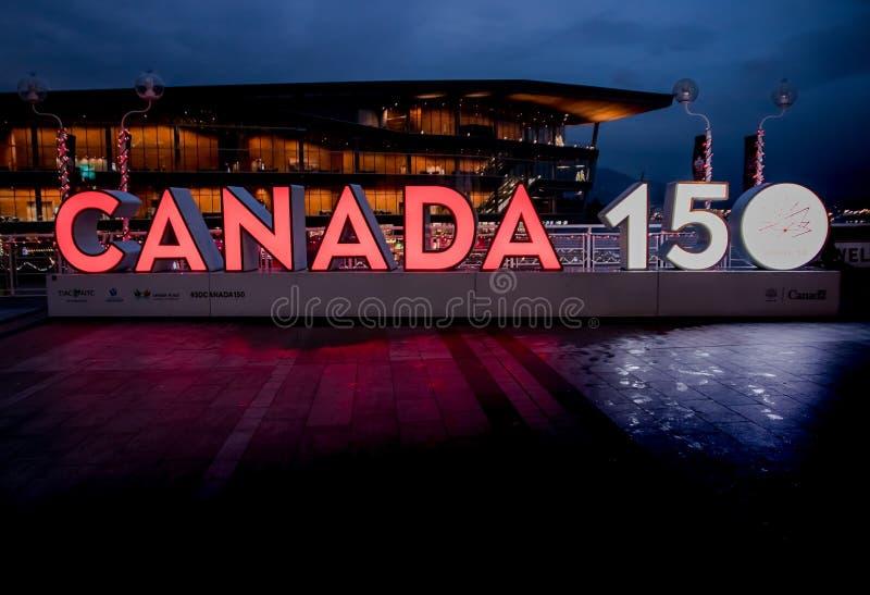 温哥华,加拿大- 2017年12月:加拿大150年周年 免版税库存照片
