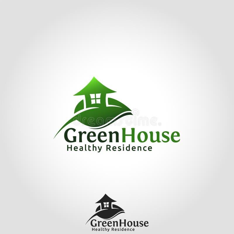 温室商标-居住的健康地方 向量例证