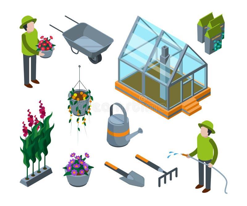 温室花 有植物菜果树等量托儿所的传染媒介的农业概念3d玻璃房子 向量例证