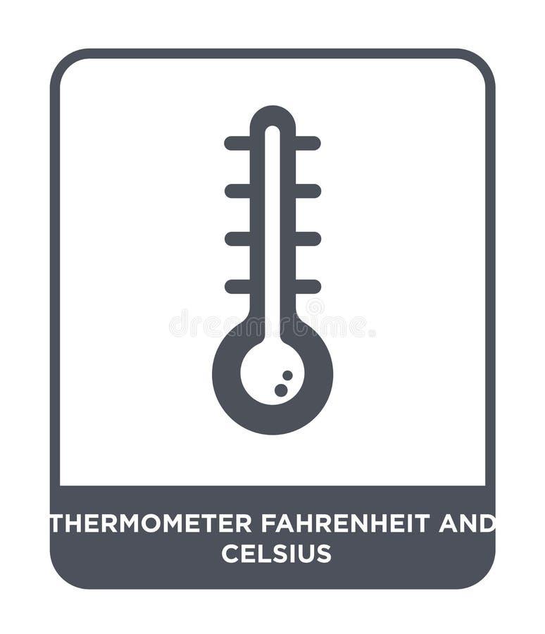 温度计华氏和在时髦设计样式的摄氏象 温度计华氏和在白色隔绝的摄氏象 向量例证