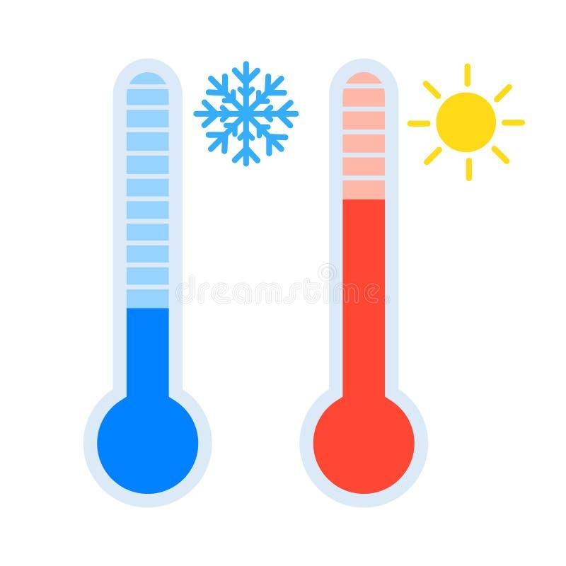 温度计象集合测量的热和冷的温度,与太阳和雪花标志,简单的平的设计传染媒介eps10 向量例证