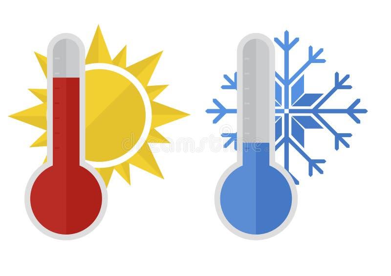 温度计雪太阳 皇族释放例证