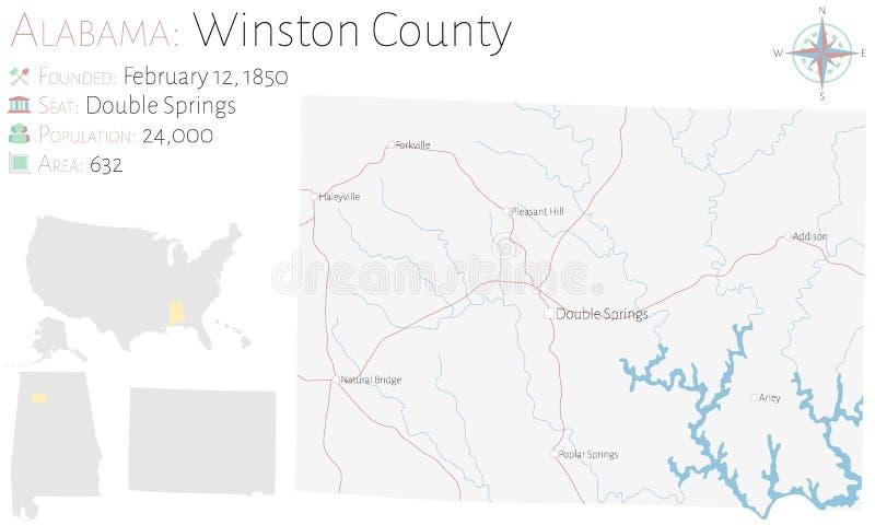温斯顿县地图在阿拉巴马 皇族释放例证