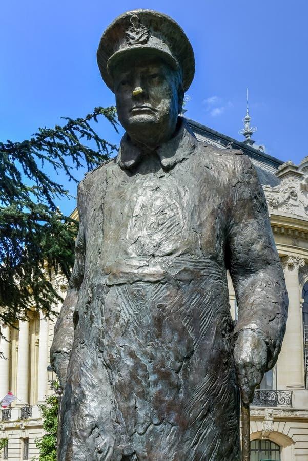 温斯顿・丘吉尔雕象-巴黎,法国 库存图片