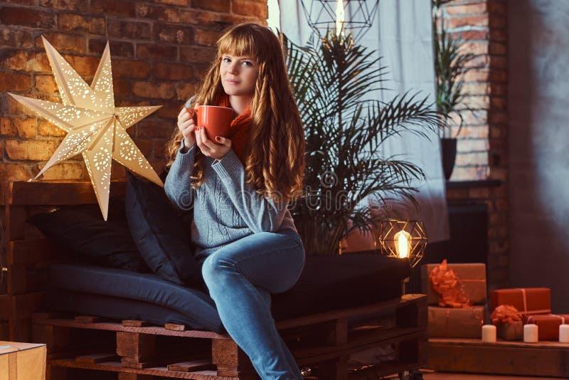 温暖与一杯咖啡的红头发人女孩在一个装饰的客厅在圣诞节打过工 免版税库存照片