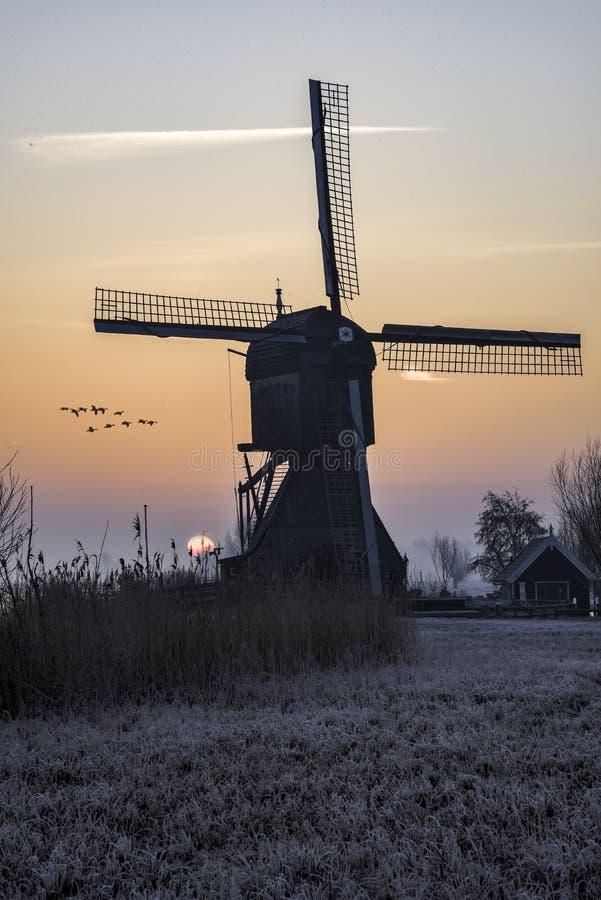 温暖和冻结的风车日出 库存照片
