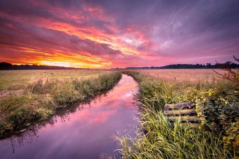 温暖在低地河的小阳春日出葡萄酒颜色的 免版税库存照片