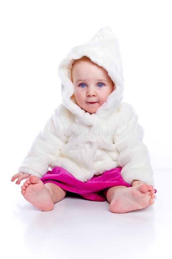 温暖外套的女孩 库存图片