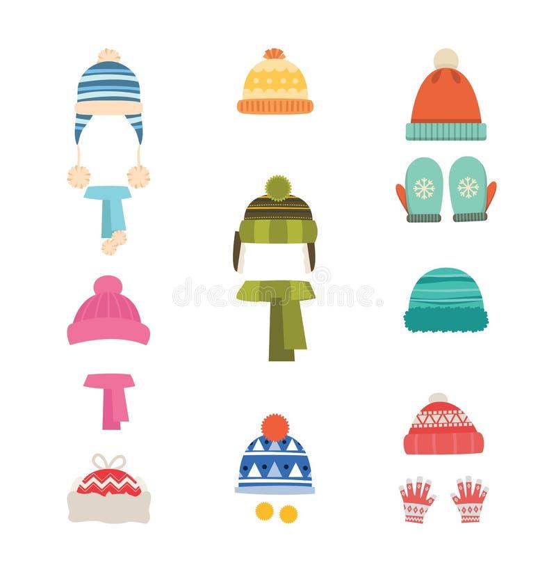 温暖帽子的冬天 帽子有围巾的和有手套的,手套 在白色背景的被隔绝的象 套帽子和围巾 向量例证