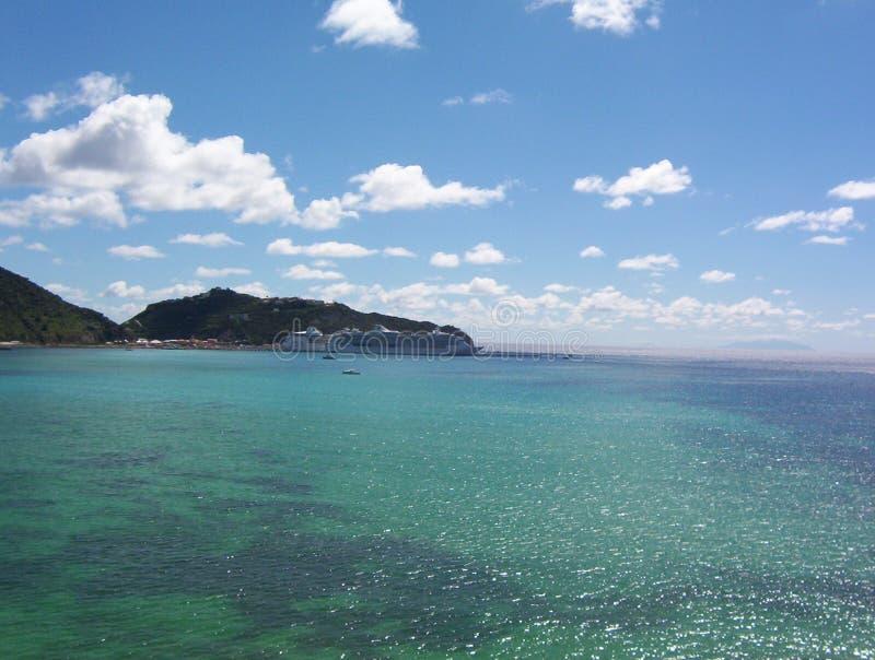 温暖微风的加勒比海 库存照片
