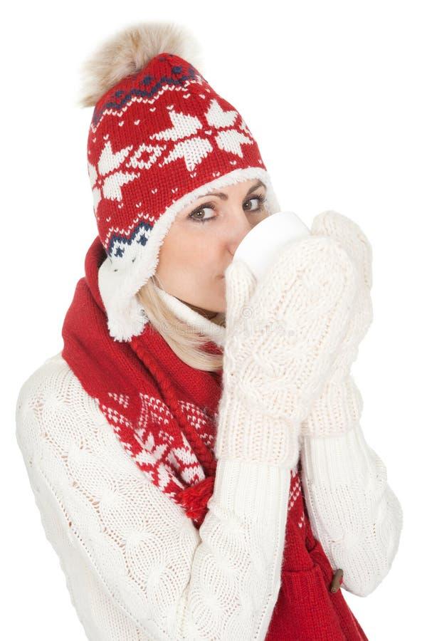 温暖的冬天衣物的美丽的妇女 库存图片