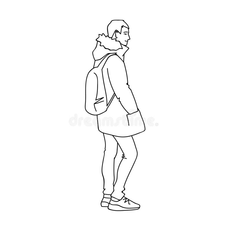 温暖的夹克、牛仔裤和运动鞋的人 o 年轻人的单色传染媒介例证有背包身分的 皇族释放例证