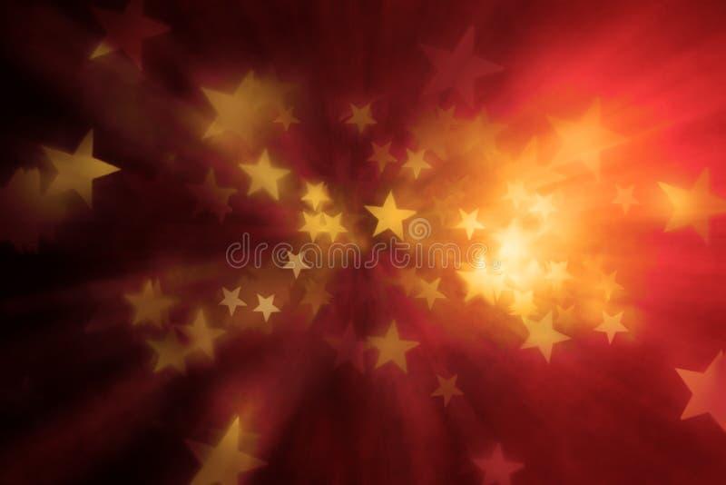 温暖的抽象星形背景 库存例证