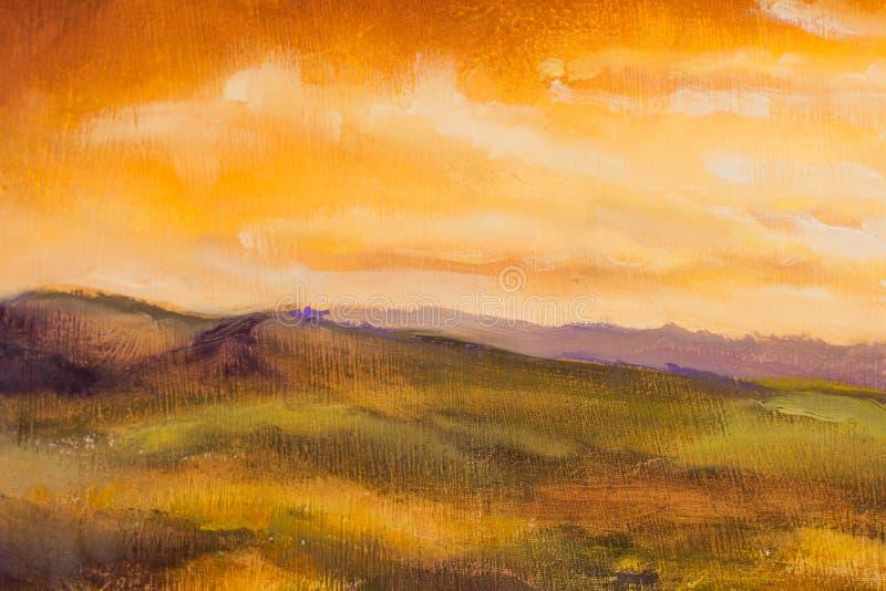 温暖的日落在山艺术性的绘画背景中 皇族释放例证