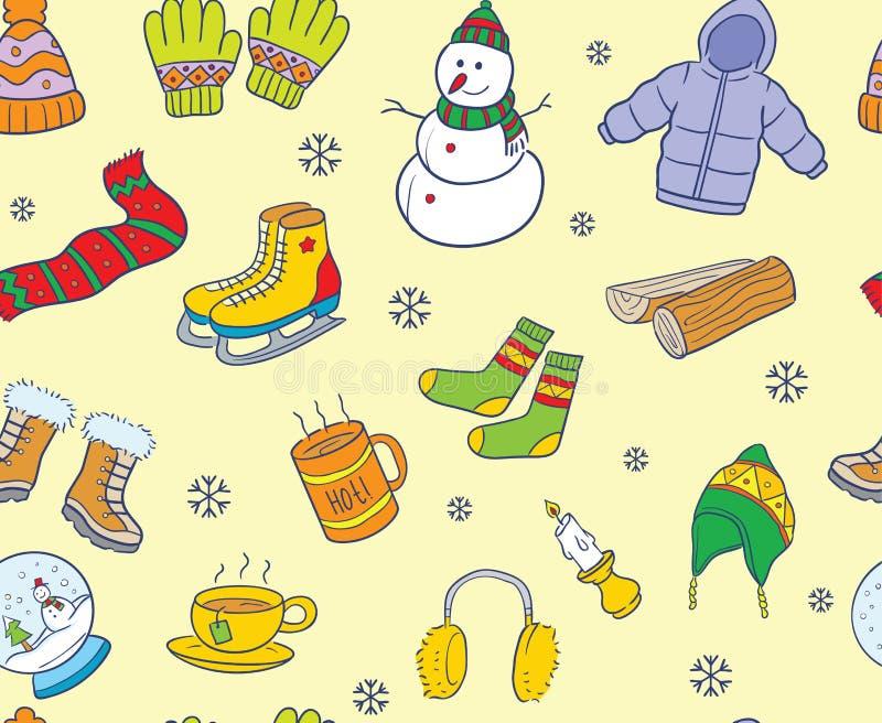 温暖的色的乱画冬天元素无缝的样式 库存例证