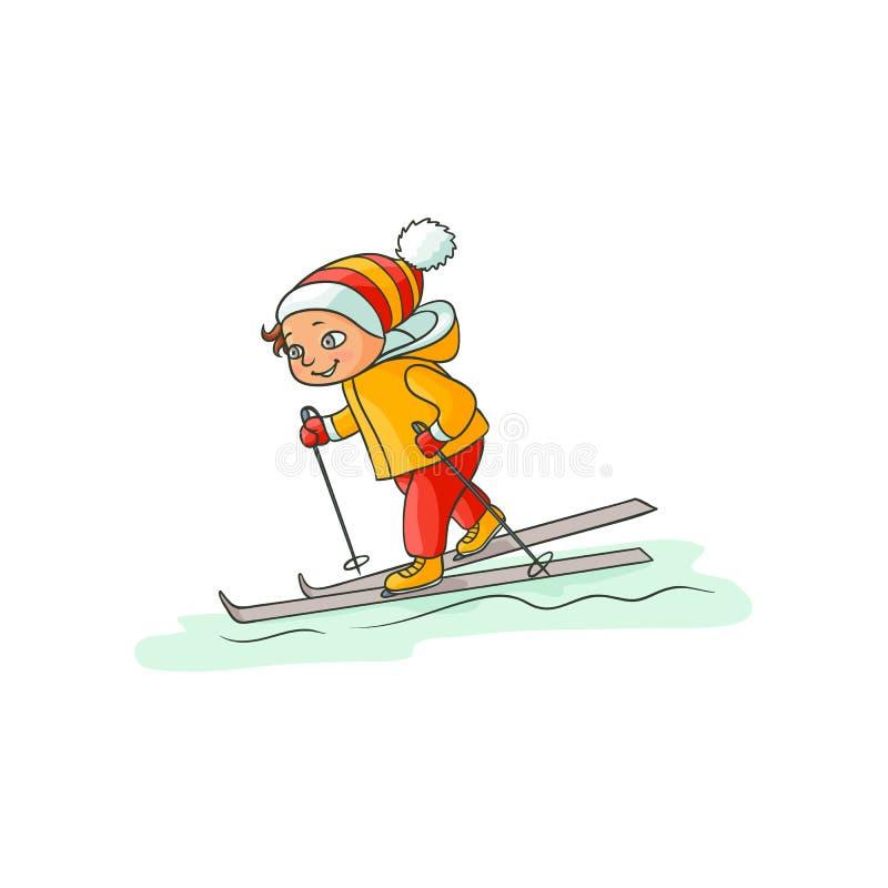 温暖的衣裳的滑雪愉快的小男孩下坡 向量例证