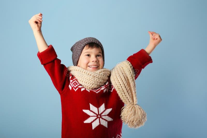 温暖的衣裳的逗人喜爱的小男孩 免版税库存照片