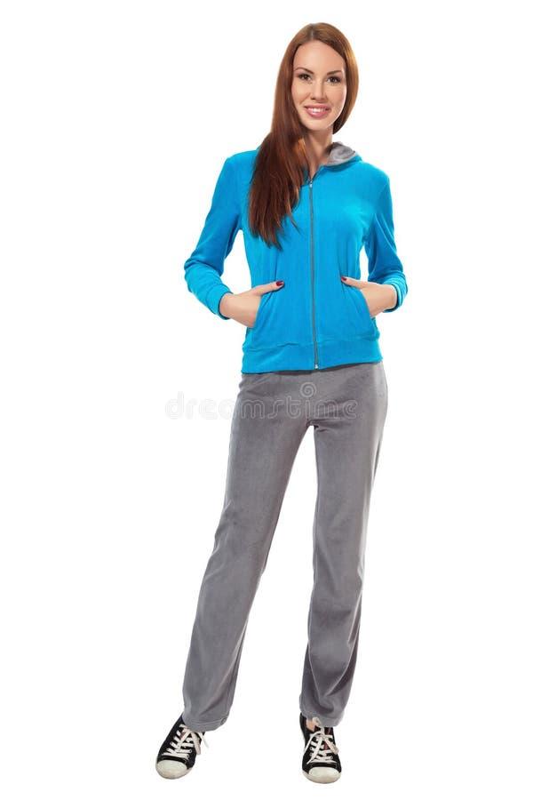 温暖的运动服的妇女 免版税图库摄影