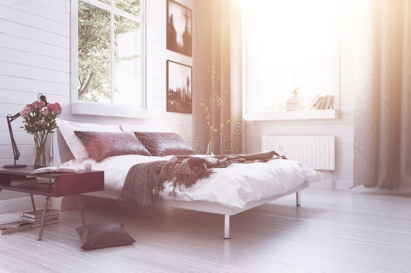 温暖的阳光在一间现代豪华卧室 皇族释放例证