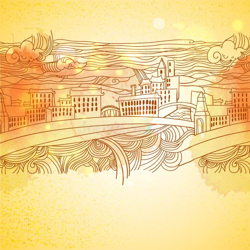 温暖的颜色线性图画城市背景 皇族释放例证