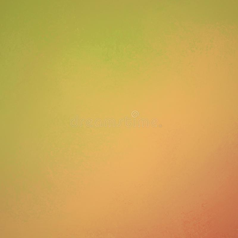 温暖的黄绿色和桔子背景设计,粗砺的葡萄酒困厄的被绘的墙壁 皇族释放例证